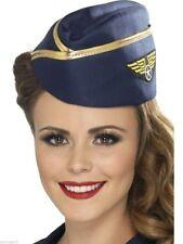 Navy Air Hostess Hat Cap Flight Attendant Stewardess Pilot Fancy Dress Force NEW