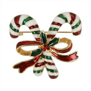 Christmas Brooch / pin - ENAMELLED  CANDY CANES & BOW Great Gift