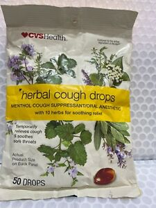 2 Packs CVS HEALTH Herbal Cough Drops Menthol Cough Suppressant/ with 10 herbs