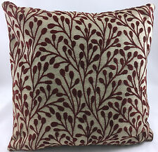 Taupe with Burgundy Red Sprig Design Evans Lichfield Cushion Cover