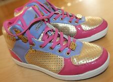 SHIEKH Size 6.5 Sneakers womens Multicolor Pink Gold Purple Leather trim Lace
