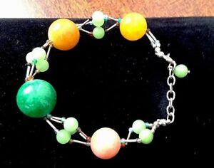 "Artisan Made Multi Stone Bracelet 7"" 925 Clasp with Silver Bugle Beading"