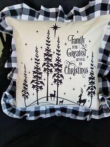 Large 18x18 Buffalo Plaid Pillowcase Black N White Christmas family deer stars
