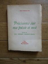 Précisions sur ma poésie et moi suivies de dix poèmes magnifiques Isou. Dédicacé