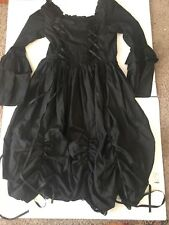 Black Victorian Goth Lolita Punk Steampunk Bustle Full Skirt Dress MEDIUM