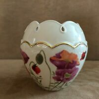 "Lenox 5"" Rose bowl Poppies on Pink Round vase flower china"