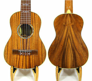 Alulu Solid Acacia Koa Baritone Guitarlele Dots Inlay Hard Case HU1472