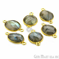Natural Labradorite 10x12 mm Oval Double Bail Gemstone Connector, Gold Plated
