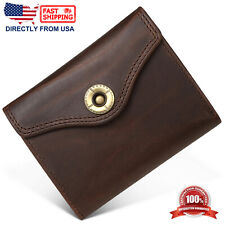 Men's Crazy Horse Leather ID Window Multi-Currency Button Closure Bifold Wallet