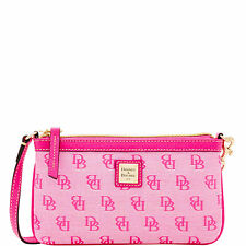 Dooney & Bourke MADISON Pink Signature Print LARGE Slim Wristlet NWT
