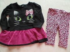NEW baby girls CAT OUTFIT halloween costume TUTU LEGGINGS twins pink 3-6 MONTHS