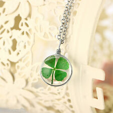 HC Fashion DIY Four Leaf Clover Lucky Dried Flower Round Glass Pendant Necklace