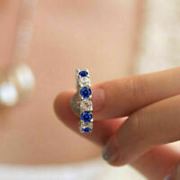 1.5Ct Round Sapphire Diamond Full Eternity Wedding Band Ring 14K White Gold Over