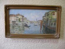 VENICE, ITALY, CANAL, WITH RIALTO BRIDGE, WATERCOLOR, ca 1890's