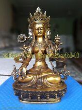 Old Tibet buddhist Ancient Bronze gilding Buddha Bodhisattva Tara White Statue