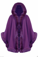 NEW WOMENS LADIES FAUX FUR PONCHO CAPE TRIM HOODED CELEB JACKET LUSH WRAP COAT