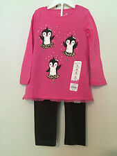 NWT~INFANT~BABY~GIRL~PINK~L/S TUNIC TOP & BLACK PANT 2PC SET SZ 24 MONTHS~W/TAG
