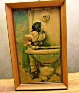 "Roman Girl at a Fountain by Leon Bonnat vintage print  framed 7"" x 11"""