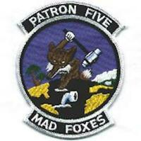 """4.75"""" NAVY VP-5 PATRON FIVE SQUADRON MAD FOXES P-3C MILITARY EMBROIDERED PATCH"""