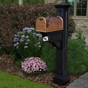 Mailbox Post Vinyl Fade Resistant in Black with Newspaper Holders/Receptacles