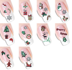 Nail Art 3D Christmas Xmas Glitter Stickers Decals Transfers Manicure BLE