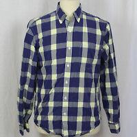 J.Crew Blue Yellow Plaid Long Sleeve 100% Cotton Shirt Men Sz Medium M