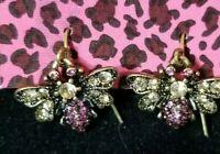 Lovely Cute Bee pink and White Crystal Betsey Johnson Women Short Hook Earrings