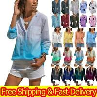 Plus Size Ladies V Neck Button Shirts Summer Floral Baggy Loose Tops Tee Blouse
