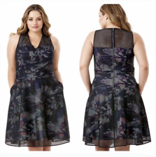 New Womens Plus Size Caged Floral Fit & Flare Dress Size 26 MSRP $248
