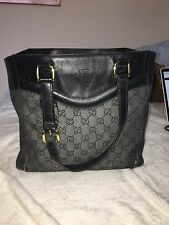 AUTHENTIC Gucci Black Canvas Leather Trim Embossed Monogram Shoulder Tote Bag