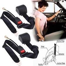 2x Universal Black Retractable Seat Belt 3 Point  Auto Car Lap Adjustable Safety