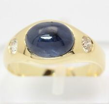 Saphir Ring in aus 14 kt 585 Gelb Gold mit Safir Brillanten Brillantring Diamant
