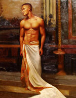 "Huge GAY oil painting nude male portrait strong man standing in bedroom art 36"""