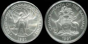 Rare 1991 Bahamas Large Matte Silver $5 Columbus-mintage 750