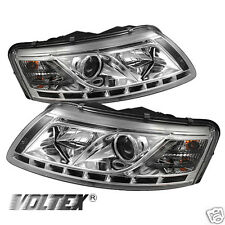2005-2007 AUDI A6 DRL LED LIGHT PROJECTOR BAR HEADLIGHTS CHROME LIGHTBAR