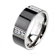 Ip 3 Cz Stripe Accented Ring Solid Titanium Wedding Engagement Bridal Band Black