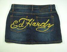 ED HARDY sz 29 Womens Jean Skirt Dark Wash Logo Signature Stretch Denim Mini