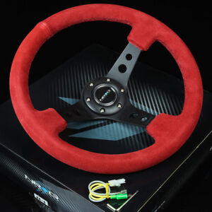 "NRG 350MM 3""DEEP DISH 6-HOLES BOLTS STEERING WHEEL RED SUEDE GRIP BLACK 3 SPOKES"