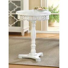 round matte white distressed carved wood Shabby pedestal End bedside side Table