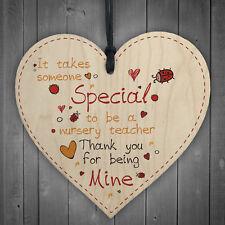 Nursery Teacher Leaving Nursery Wooden Heart Plaque Preschool Thank You Gifts
