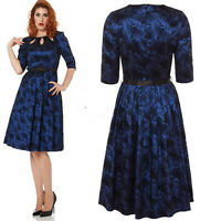 VOODOO VIXEN PAULA DARK BLUE ROCKABILLY VINTAGE DRESS SWING ALTERNATIVE