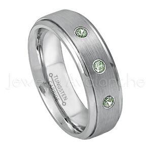 0.21ctw Alexandrite 3-Stone Ring, June Birthstone, Tungsten Wedding Band #008