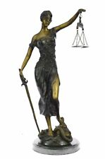 Real Bronze Metal Statue with Marble Lady Blind Justice Scales Lawyer Decorative