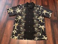 Tommy Bahama Men's Size L 100% Silk Black Floral Hawaiian Cruise Beach Vacation