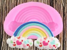 Pequeño Arco Iris de Silicona para Fondant Pastel Cupcake Topper Molde de colores chocolate 1