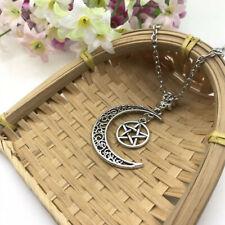 Pentagram and Moon Necklace Pentagram Moon Pendant Pentacle Wiccan Necklace*
