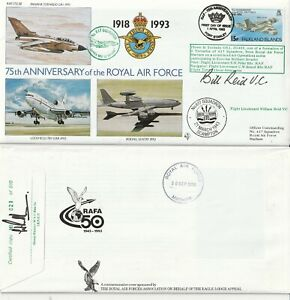FALKLANDS 1993 RAF 75th ANN RAF (75) 30 COVER HAND SIGNED BY Fl Lt BILL REID VC