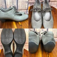 Womens ECCO Taupe-Gray Leather Mary Janes Loafers Shoes SIZE 40 US 9-9.5