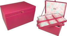 Boutique Tiffany Large Hot Pink Jewellery Box Floral Lining 70471