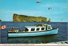 Boat Le Rocher Perce Quebec QC Rock Unused Vintage Postcard D43